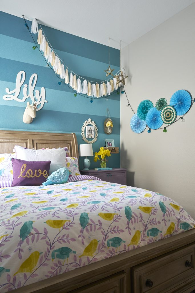 Striped wall turquoise girls room dallas